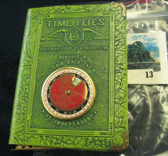 """""""Time Flies"""" leather bound book style coin safe with key, advertising premium from State Mutual Life"""