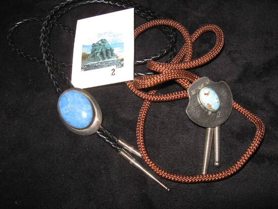 Pair of bolo ties, Native American Indian, silver and turquoise, sterling and lapis lazuli, lapis pi