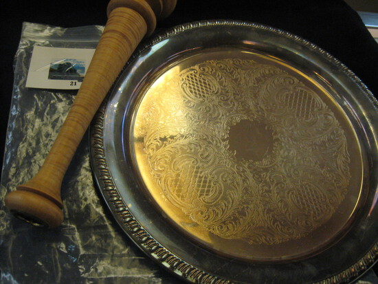 Large silver plate platter and hand turned tiger maple tapered candle stick