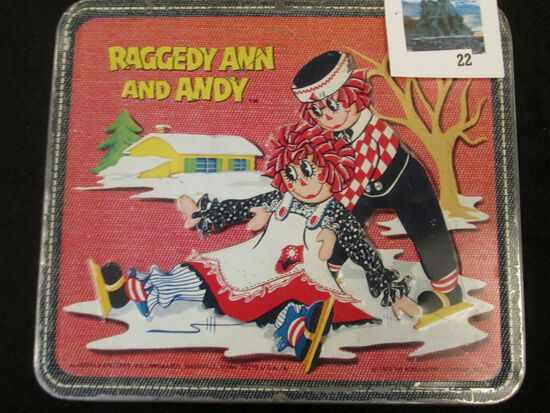 Vintage metal Raggedy Ann and Andy Aladdin lunch box with thermos, © 1973