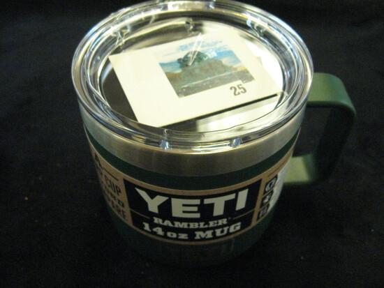 YETI Rambler 14oz mug green, brand new with labels, retail price $25+