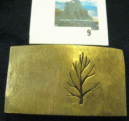 handmade, hand hammered brass belt buckle with artistic tree engraved, signed DMB 13, original price
