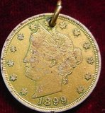 2401. 1899 Liberty Nickel, Gold Plated. EF.