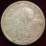 2487. 1917P Type-2 Standing Liberty Quarter.  EF, Rough