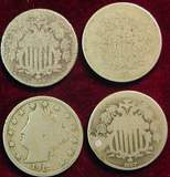 2493. (4) Early Nickels. 1867, 68, 69 & 1912. AG-G.
