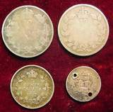 2523. (4) Silver Foreign Coins. 1843-1917 Canada & G.B.