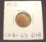 2549. 1912 Lincoln Cent. Red & Brown 63.