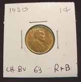 2551. 1930 Lincoln Cent. Red & Brown 63.