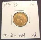 2552. 1934D Lincoln Cent. MS-64 Red.