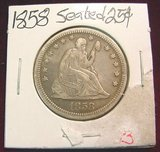 2569. 1858 Liberty Seated Quarter. VF.