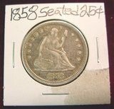 2570. 1858 Liberty Seated Quarter. EF.