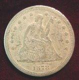 2573. 1878 Liberty Seated Quarter. G. Rev. Scratches.