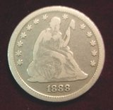 2574. 1888S Liberty Seated Quarter. VG-G