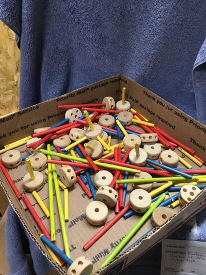 Vintage flat box of miscellaneous tinker toys
