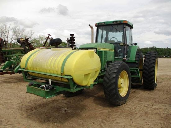 JOHN DEERE 7810 TRACTOR CAB, 4WD, BOLT ON REAR DUALS, REAR WHEEL WEIGHTS, LIFTARMS, DRAWBAR, 4 SETS