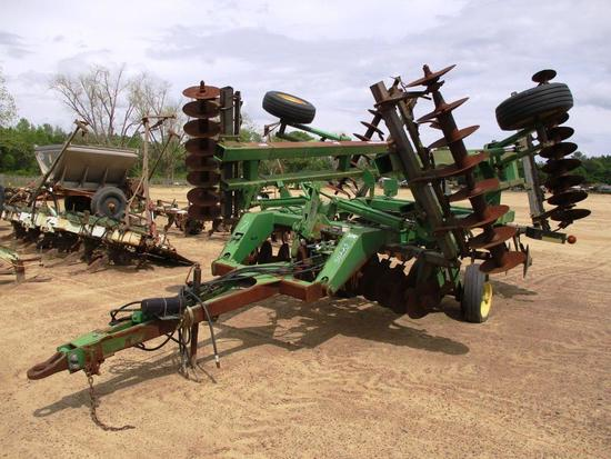 JOHN DEERE 637 HYD FOLD HARROW W/ WHEELS, PIN PULL