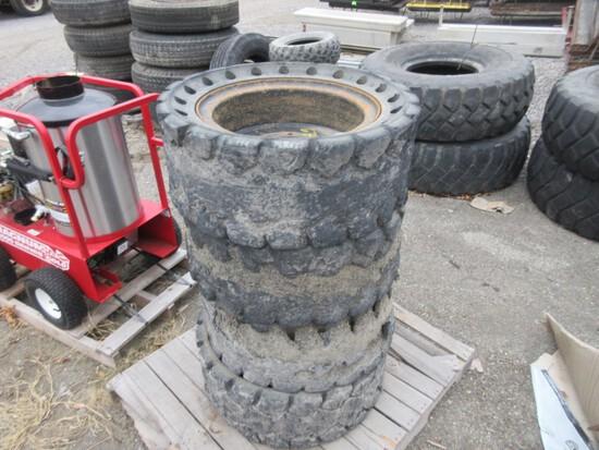 """Skid of 12"""" Solid Skid Steer Tires (4)"""