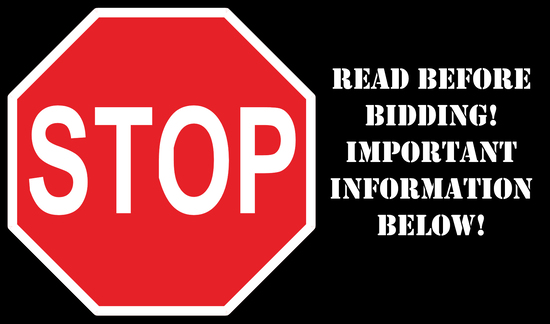 STOP! READ THIS BEFORE BIDDING! IMPORTANT INFORMATION BELOW!