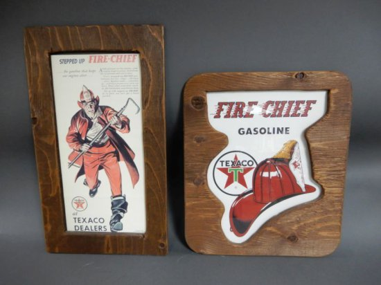 LOT OF 2 FIRE CHIEF WOOD FRAMED PICTURES