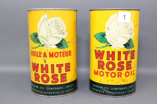 2 WHITE ROSE QT OIL CANS