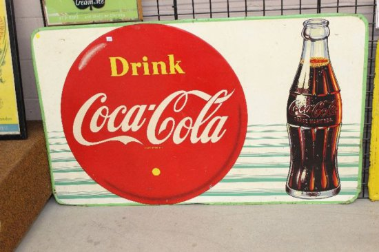 """DRINK COCA-COLA SST SIGN 59""""X36"""" BARKER 57"""