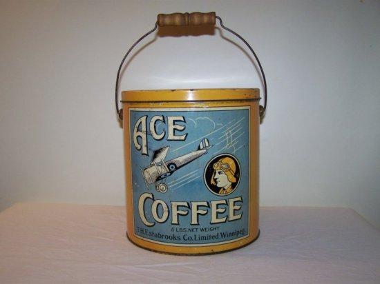 """ACE""  5LB COFFEE TIN T.H.E STABROOKS CO. WINNIPEG MB.-MACDONALD MFG TORONT"