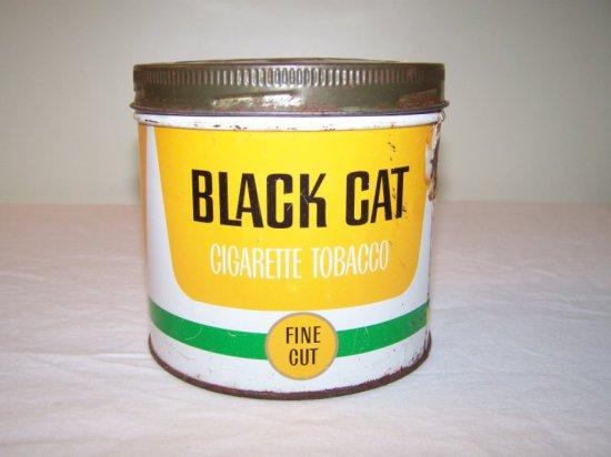 BLACK CAT FINE CUT CIGARETTE TOBACCO TIN -SMALL TIN DAMAGE WHERE LABEL WAS