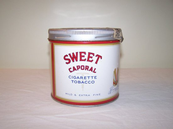 SWEET CAPORAL CIGARETE TOBACCO TIN -MFG IMPERIAL TOBACCO MONTREAL P.Q -WEAR