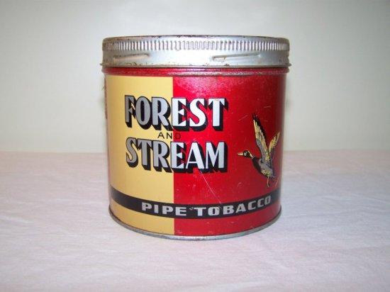 FOREST & STREAM PIPE TOBACCO TIN-IMP.TOBACCO MONTREAL P.Q. -SOME TIN DAMAGE