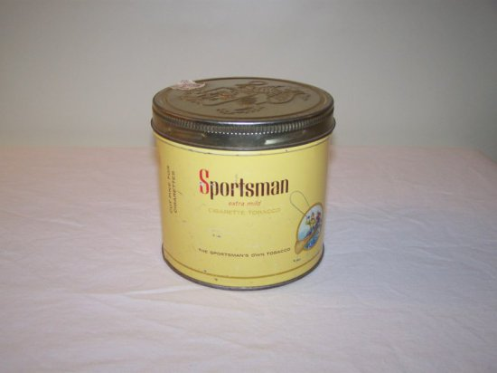 SPORTSMAN CIGARETTE TOBACCO TIN -ROCKCITY TOBACCO CO. 1960 LTD.  CANADIAN