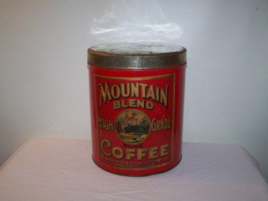 "MOUNTAIN BLEND HIGH GRADE COFFEE TIN R.B. HAYHOE LTD TORONTO ON.  9""X 11"""