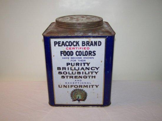 PEACOCK BRAND FOOD COLORS 5LB. TIN  WM. J. STANGE CHICAGO,IL.
