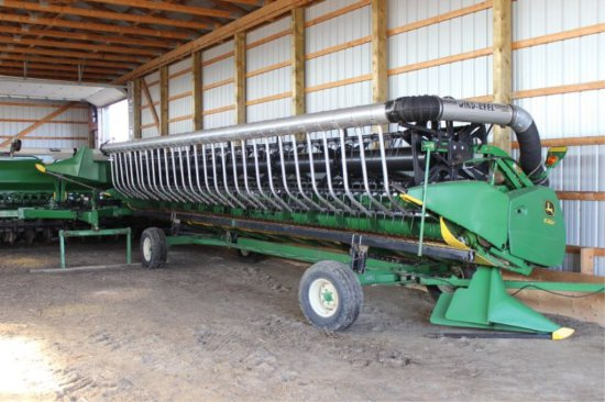 2011 JOHN DEERE 630F HYRA FLEX HEAD AWS AIR REEL, POLY, FULL FINGER AUGER.