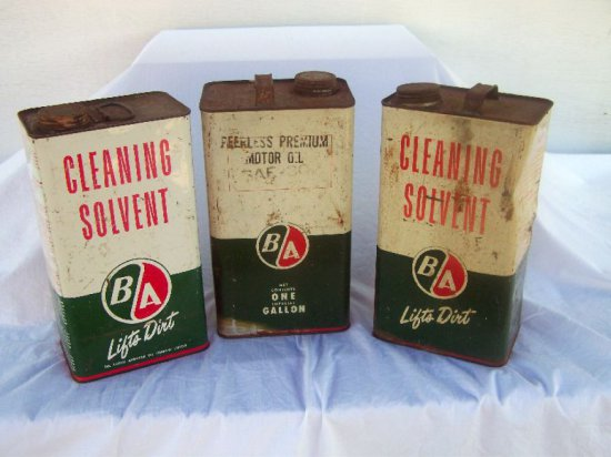 3 B/A ONE GAL. CANS- 2 CLEANING SOLVENT -1. PEERLESS PREM. OIL-SOME PAINT L