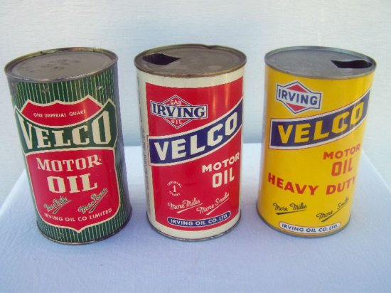 3 1950'S IRVING VELCO IMP. QT. OIL CANS