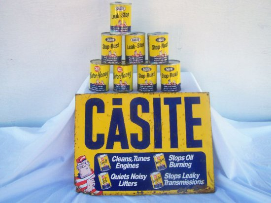 """CASTITE-HASTINGS  SST RACK TOP SIGN -TIN LOSS AT BOTTOM-14""""X 9""""-  8 15 OZ T"""