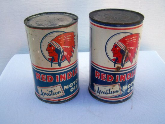 2 RED INDIAN AVIATION QT. CANS- SOME WEAR & RUST