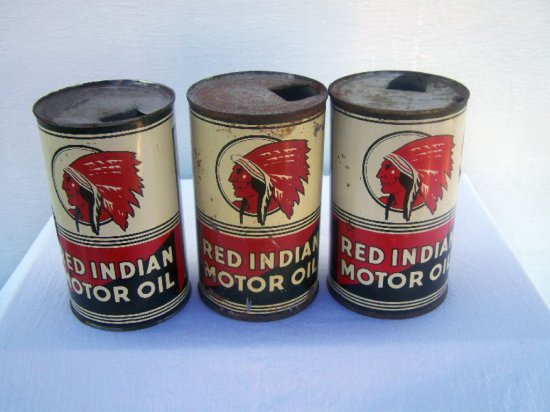 3 RED INDIAN QT. OIL CANS - SOME WEAR & RUST
