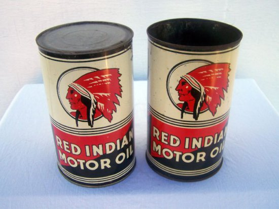 2 RED INDIAN QT. CANS- 1. NO TOP 1. NO BOTTOM