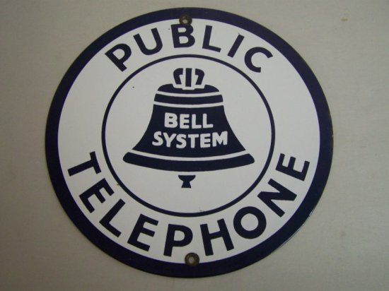 """BELL SYSTEM PUBLIC TELEPHONE SSP SIGN 8 3/4""""- REPRO"""
