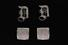 CUFFLINKS: Gents 14kw initial D diamond cufflinks, old English script D, 36 rb dias, 1.9mm to 2.1mm
