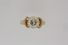 RING:  [1] 14KYG ring set with one RBC dia. (9.5 x 6.0 mms), approximately 3.30 cts, M, VS1; sz 8½;