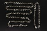 CHAIN: Gents 14kw fancy link chain necklace with diamonds; 396 rb dias, 1.4mm to 1.5mm = est 5.75ctt