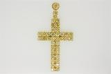 PENDANT:  [1] 18KYG Cross pendant (2 inches long, 1? inches wide) set with 39 RBC dia.s, TWA 8.5 cts