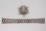 WATCH CASE:  Gents 14kw wristwatch case; bezel channel set w/ 38 rb diamonds, 2.7mm = est 2.66cttw,