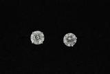 EARRINGS: Unisex 14kw round brilliant diamond earstuds, 1 dia, 9.19mm x 9.13mm x approx 5.72mm = est