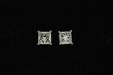 EARRINGS: Unisex 14kw square princess cut diamond earstuds, 1 sq prin dia, 6.58mm x 6.55mm x approx