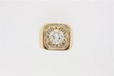 RING:  [1] 18KYG ring set with 1 rbc dia. (9.95 x 5.48mms), approximately 3.30 cts, F/G, VVS2; size