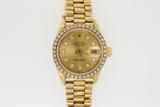 WATCH:  [1] 18KYG Oyster Perpetual Ladies Datejust Rolex watch with an aftermarket gold tone dial wi