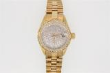 WATCH:  [1] 14KYG lds bracelet watch with an automatic movement, a diamond pave' dial and the bezel